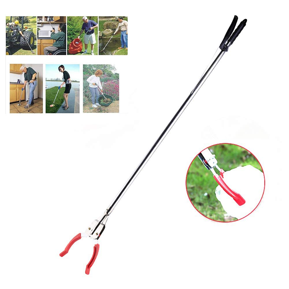 ZZYYZZ Garbage Picker, Household Stainless Steel Lengthen Mobile Aid Garbage Picker, Suitable for Wheelchair and Disabled by ZZYYZZ