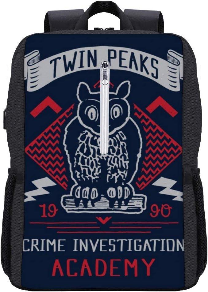 Twin Peaks Crime Academy Backpack Daypack Bookbag Laptop School Bag with USB Charging Port