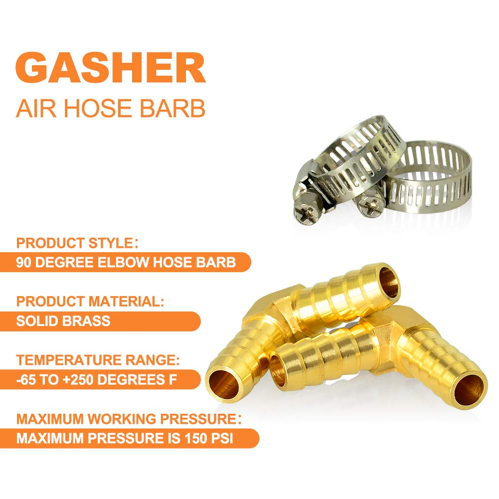 Gasher 2 Pieces Brass Hose Barb Reducer 3//8 Inch to 3//8 Inch Barb Hose ID 90 Degree L Right Angle Elbow with 4 Hose Clamps Brass Barb Reducer SPLICER Fitting Fuel//AIR//Water//Oil//Gas//WOG
