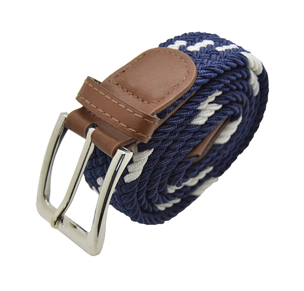 Stylish Men Elastic Expandable Braided Fabric Woven Stretch Belt 40 White//Navy#AAAS