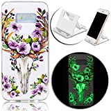 Samsung Galaxy S8 Plus Cover Clear,Vandot Luxury Slim Fit Colorful Printing Noctilucous Luminous Case Pattern Soft TPU Gel Bumper Case Skin Cover Glow in the Dark+Charging Holder-Flowers Blossom