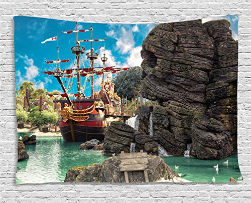 Ambesonne Pirate Tapestry by, Big Ancient Ship on Tropical Caribbean Seashore Pirate Island Large Rock Formation, Wall Hanging for Bedroom Living Room Dorm, 60 W X 40 L Inches, Multicolor