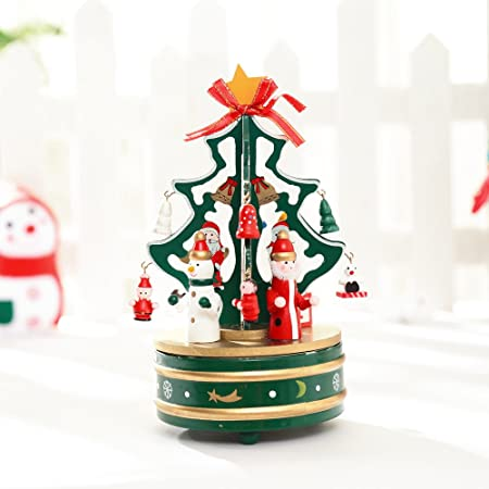 SO-buts - Caja de música de Madera para árbol de Navidad para niños y niñas, giratoria,