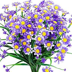Silk Flower Arrangements Daisy Artificial Flowers Outdoor Fake Plant Purple Faux Greenery Shrubs Arrangement Plastic Bushes Indoor Planter Outside Decor Bulk 4 PCS