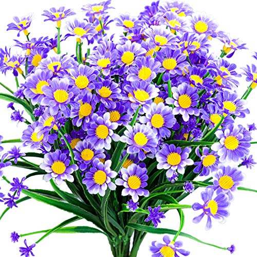 Daisy Artificial Flowers Outdoor Fake Plant Purple Faux Greenery Shrubs Arrangement Plastic Bushes Indoor Planter Outside Decor Bulk 4 PCS