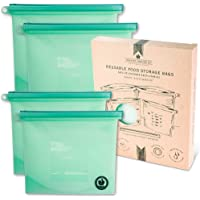 Silicone Food Storage Bags - Reusable Ziplock Bags for Lunch Snacks Sandwiches and Leftovers - Freezer and Sous Vide Safe for Zero Waste Kitchen