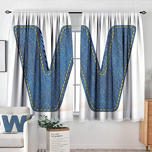 curtains for living room Letter W,Symmetrical Latin Letter Capital W with Blue Jean Pattern Typography Design Print,Blue Yellow,Decor Collection Thermal/Room Darkening Window Curtains 42