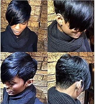 Perruques De Cheveux Courts Et Raides Pour Femme Noire Cheveux Naturels Amazon Fr Beaute Et Parfum