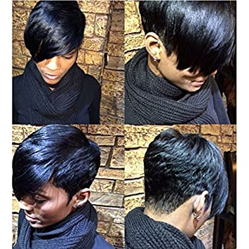 Amazon Com Short Straight Layered Hairstyle Short Hair Wigs For Black Women Black Haircutss For Black Women Natural Hair Wigs Beauty