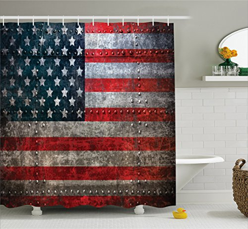 American Flag Shower Curtain by Ambesonne, Royalty Flag Textured US Backdrop on Damaged Board Plate Design Artwork Print, Fabric Bathroom Decor Set with Hooks, 70 Inches, Red Grey (Us Flag Artwork)