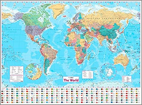 Collins world wall paper map world map amazon collins maps collins world wall paper map world map amazon collins maps 8601404659546 books gumiabroncs Images