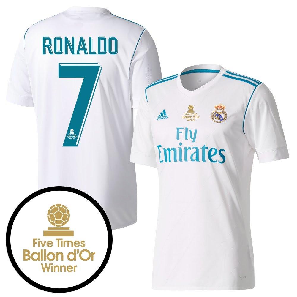 Real Madrid Home Trikot 2017 2018 inkl Ronaldo 7 & Druck (5x Ballon d'Or Beflockung) - XL