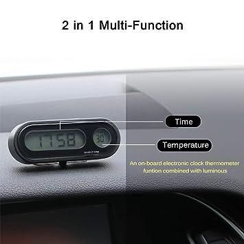 MASO - Reloj Digital LED para Coche con indicador de Temperatura Ajustable para vehículos, con luz Negra y Modos de transformación de 12 h/24 h: Amazon.es: ...