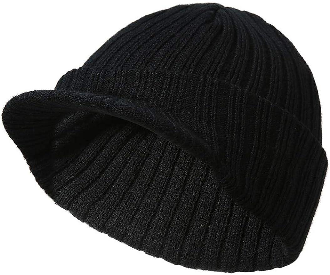 Zipok Mens Beanie Hat Stripe Knitting Warm Knit Cuffed Plain Toboggan Cap Peaked Cap Autumn Winter Men Sport Skiing Hat