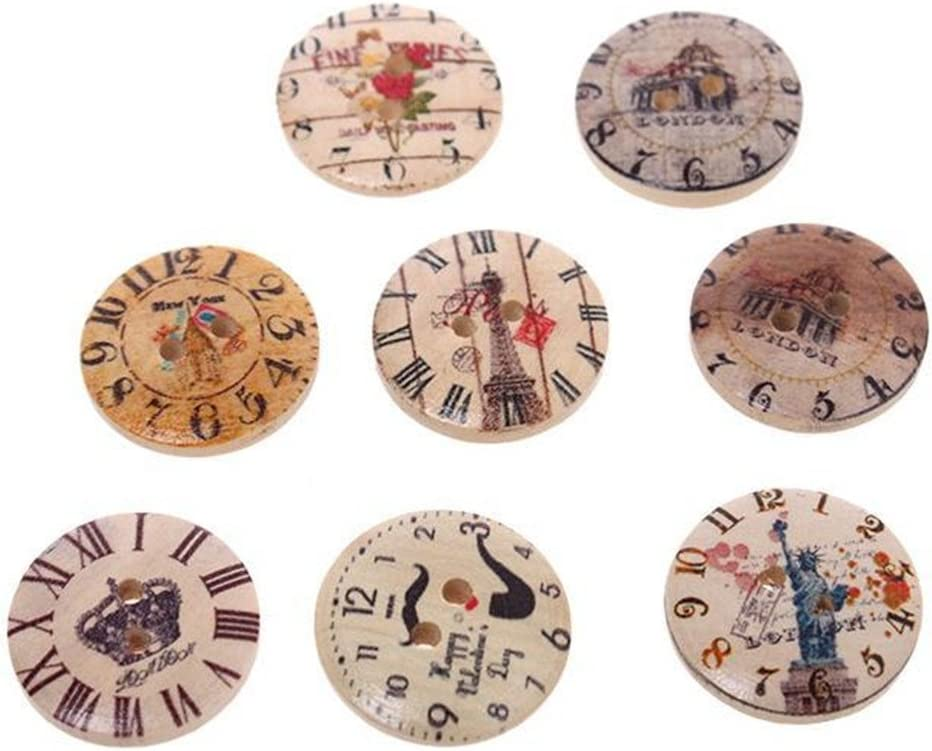 25mm Clock Wooden Round Buttons Sewing Clothings Handmade DIY Crafts W611