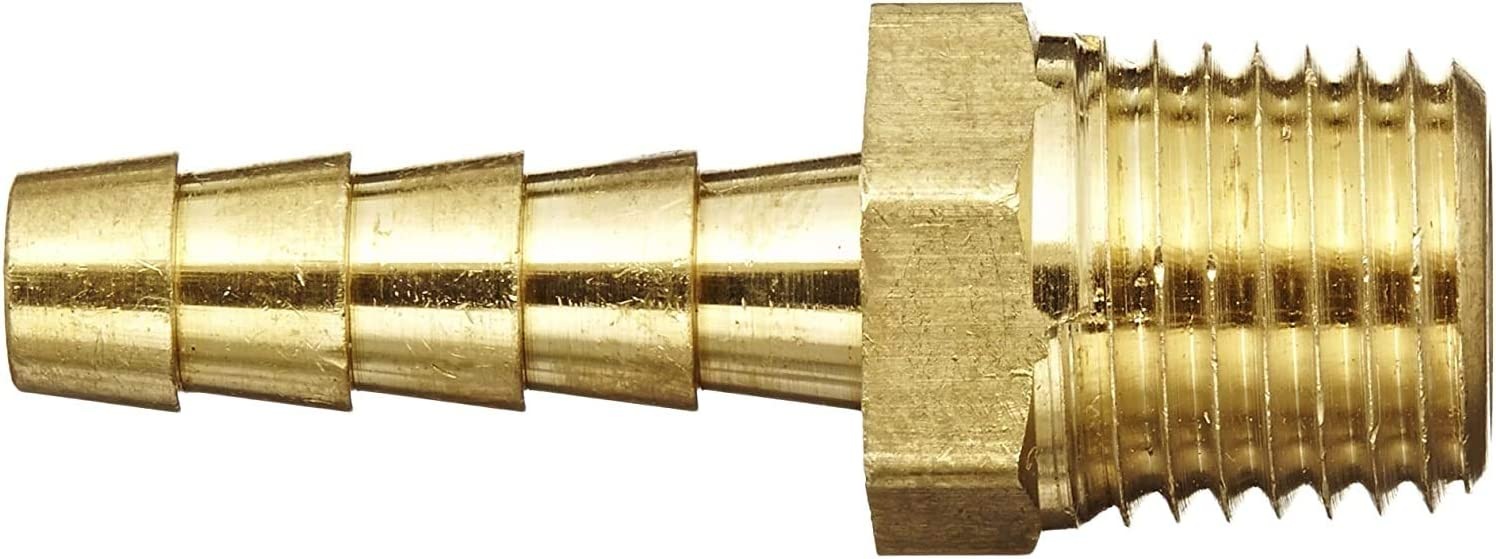 Тhrее Расk Anderson Metals 57001-0404 Brass Hose Fitting 1//4 Barb x 1//4 NPT Male Pipe Adapter