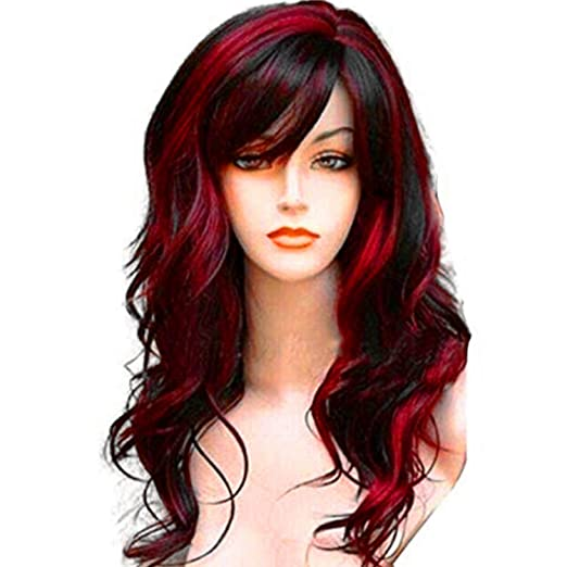 Wealake Long Curly Wavy Wig Synthetic Full Hair Wig For Women Cosplay Costume Party Anime Wigs