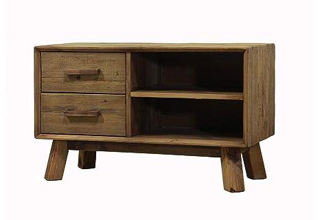 Meuble TV 2 tiroirs en pin recyclé - Style Esprit Montagne ...