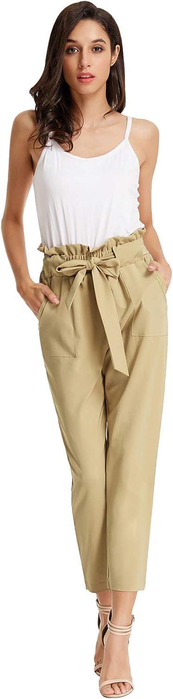 GRACE KARIN Femme Mode Pantalon Ete Casual Travail Jambe Large Chic Pantalon Taille Haute avec la Ceinture /à Nouer
