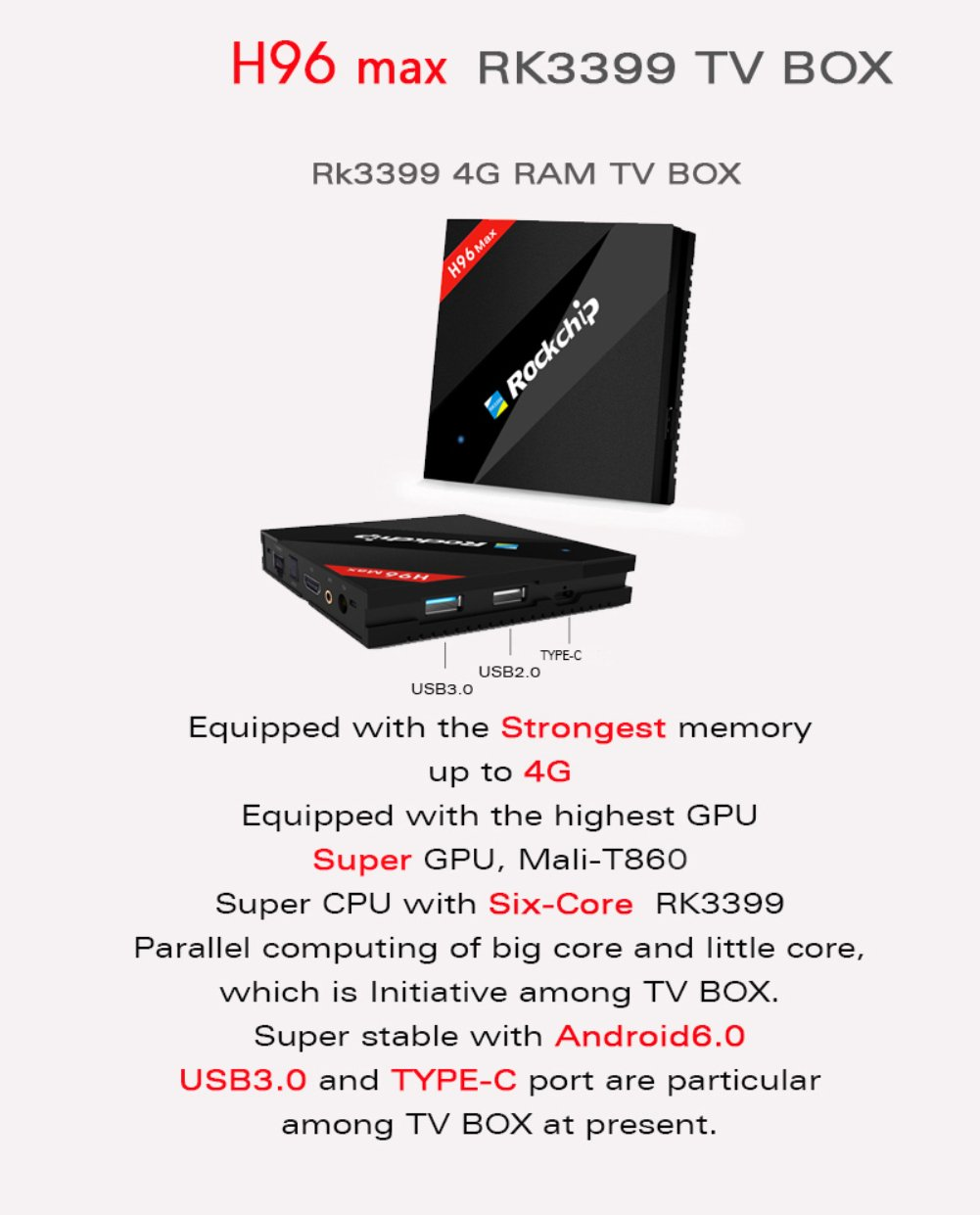 H96 Max TV Box Android 6 0 RK3399 6 core TV Box 2 G RAM LPDDR3 16