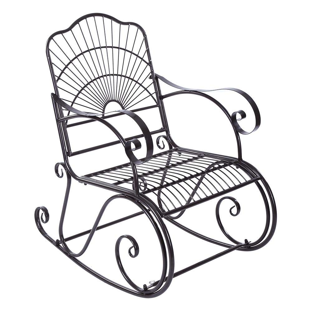 Cast Iron Rocking Chair, Scroll Patio Rocker for Patio Park Porch Deck Outdoor, 40.9x35x24 inch by ROBTLE