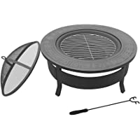 Grillz Outdoor Metal Firepit Backyard Patio Garden Round Stove Fire Pit With Poker