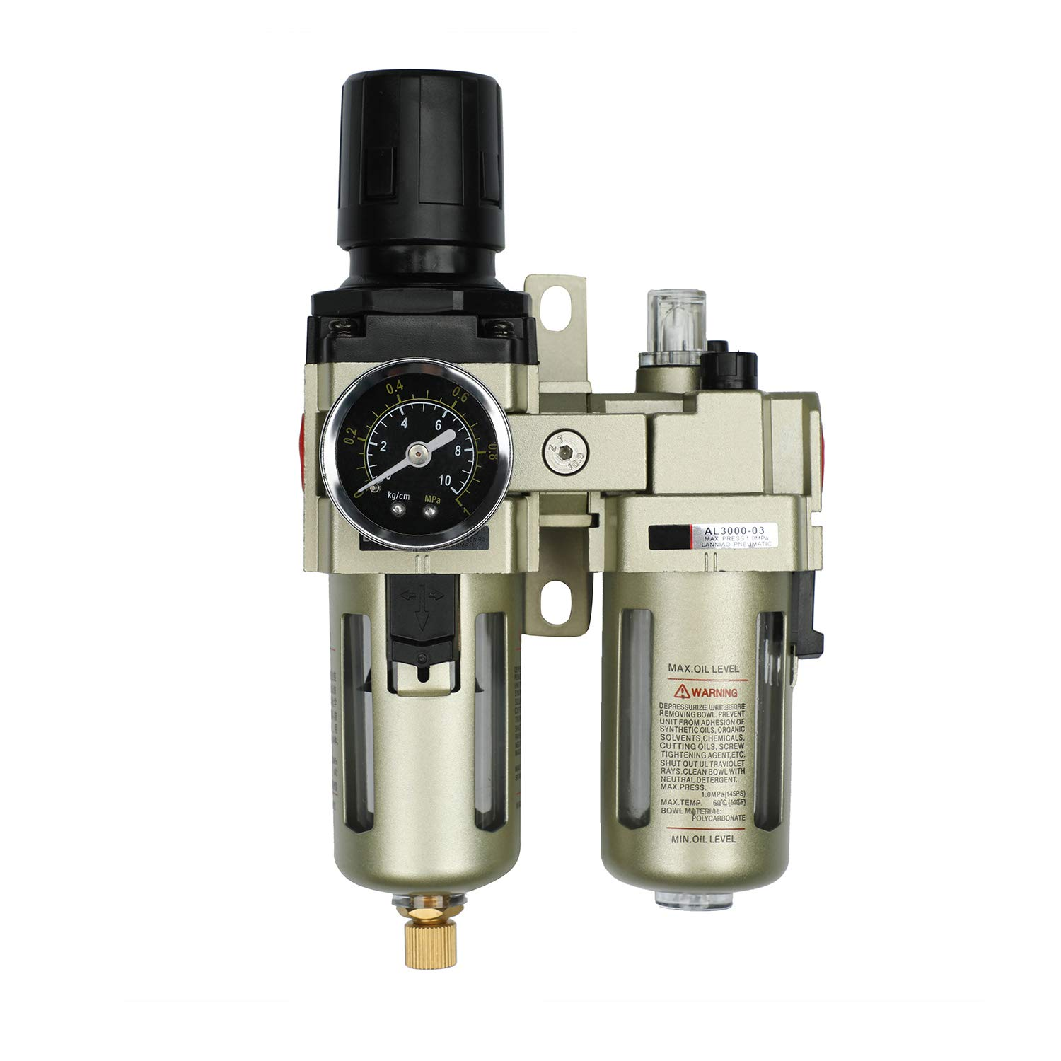 Compressed Air Filter Regulator Lubricator Combo with Gauge 1/4' NPT Poly Cup with Aluminum Alloy Cover, Manual Drain, 5 μm