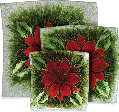 AngelStar 19120 3-Piece Poinsettia Decorative Glass Trays, 5-1/2-Inch, 7-1/2-Inch, and 9-1/2-Inch