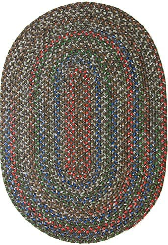 Katherine Indoor Outdoor Oval Braided Rug, 8 by 11-Feet, Dark Taupe