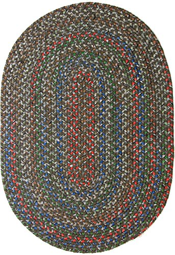 Katherine Multi Indoor Outdoor Oval Braided Rug, 4 by 6-Feet, Dark Taupe
