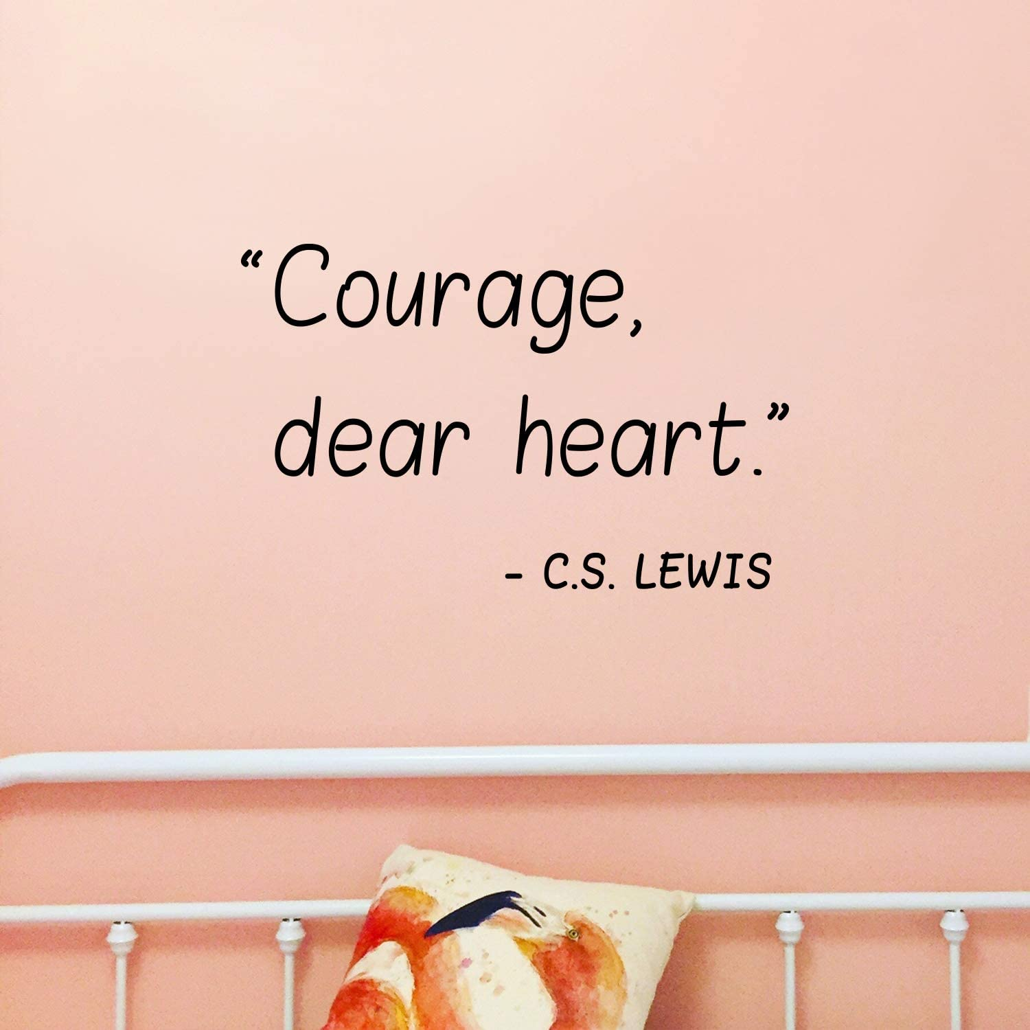 """Vinyl Wall Art Decal - Courage Dear Heart - 22"""" x 18"""" - C.S. Lewis Motivational Life Quote for Home Bedroom Living Room Work Office - Positive Quotes for Apartment Workplace Decor"""