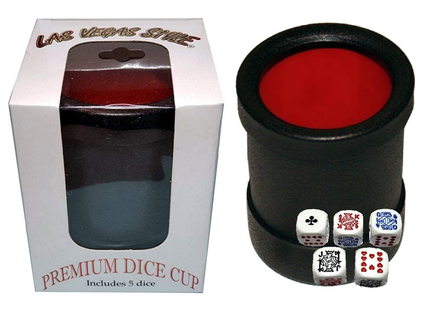 Cyber-Deals ラスベガススタイル プレミアムダイスカップ (ブラック/レッド) 16mmサイコロ5個付き ポーカー(丸角)  B07HKWHFGY