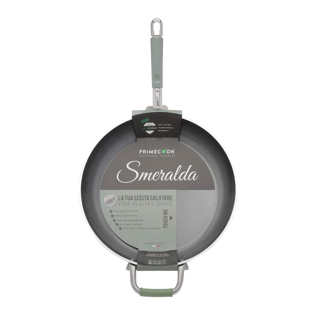1904 Rivestimento ECOSHIELD Senza PTFE,PFOA e Nickel 100/% Made in Italy Primecook Casseruola Antiaderente Smeralda 20 Cm