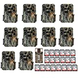 Ten Browning Recon Force Advantage 20MP Trail/Game Cameras (1080p) with Twenty16Gb Cards and Focus USB Reader