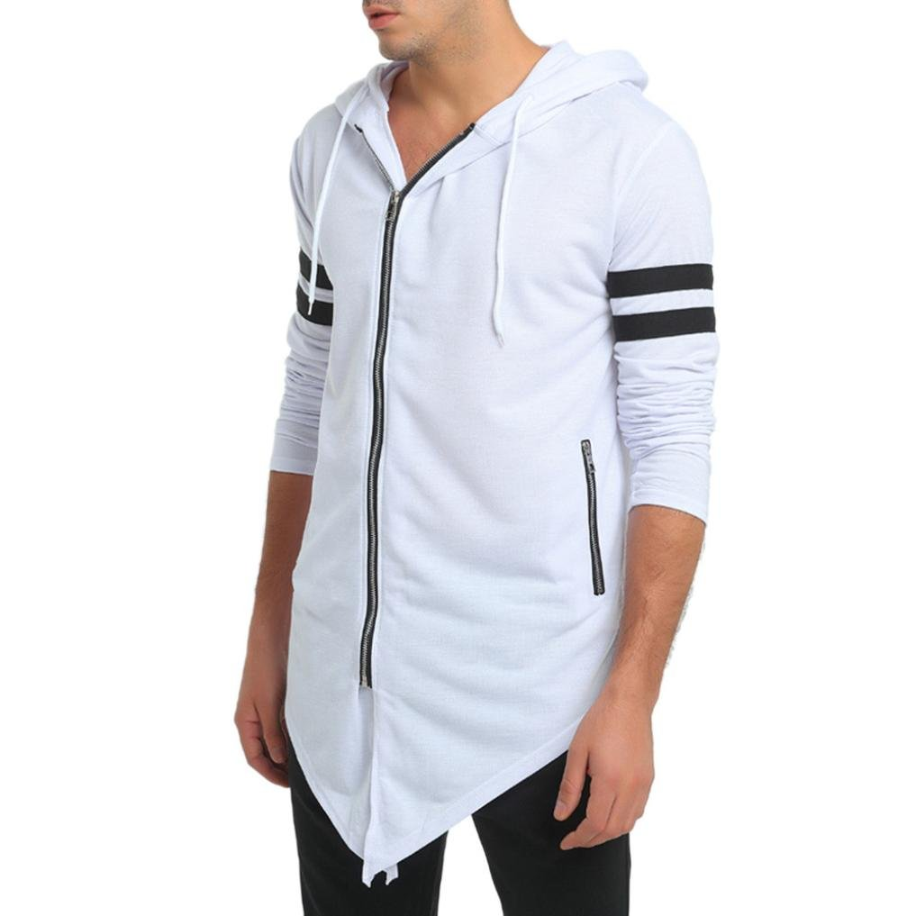 GREFER New Men's Slim Long Sleeve Irregular Zipper Hoodie Blouse Tops Coat Outwear (M, White) by GREFER