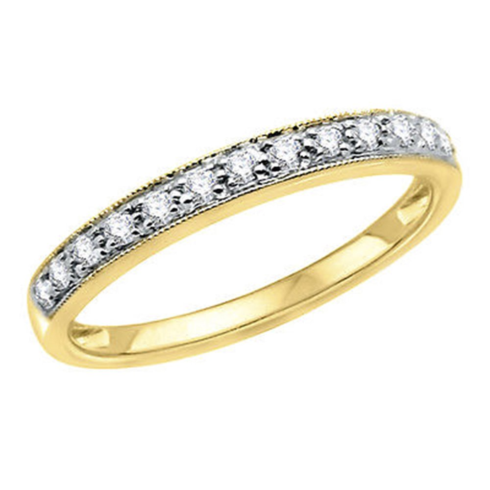 OMEGA JEWELLERY 0.16 Ct Half Eternity Diamond & Milgrain Wedding Band Ring 14K Yellow Gold by OMEGA JEWELLERY