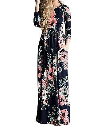 fbaa09bb98b7 Empire Waist Dresses for Women Casual Floral Print Maxi Dresses Blue S