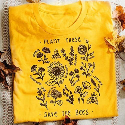Save The Bees T-Shirt Women Save The Bees Environmental Shirt Simple Black XXXL