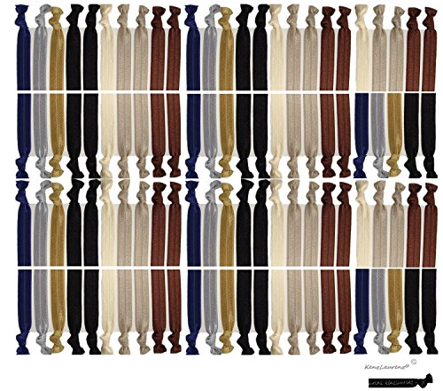 Kenz Laurenz 100 Hair Ties No Crease Ribbon Elastics Ouchless Ponytail Holders Hair Bands (100 Hair Ties-Neutral Tones)