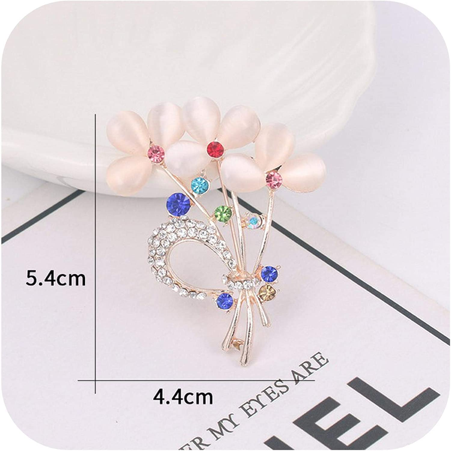Lanng Assorted Beige Opal Stone Plant Flower or Butterfly Brooch Pins for Women