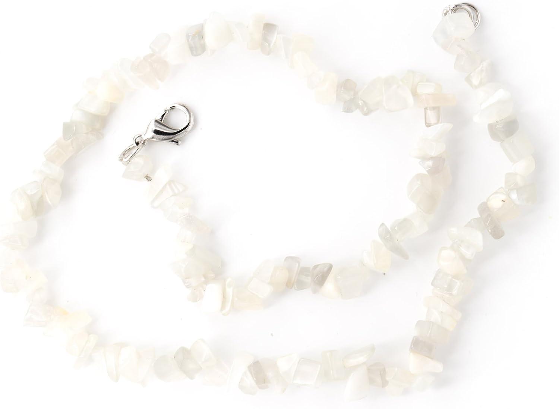 Taddart Minerals - Collar de piedra de luna natural de 45 cm de longitud, hecho a mano