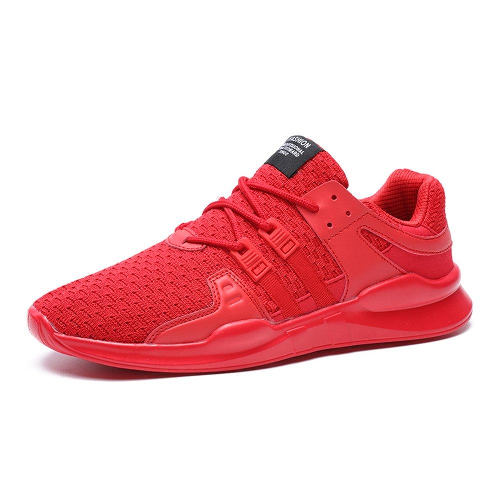 Senbore Herren Turnschuhe Sportschuhe Sneakers Freizeitschuhe Bequeme Trainers Schnürer Laufschuhe Schuhe Rot