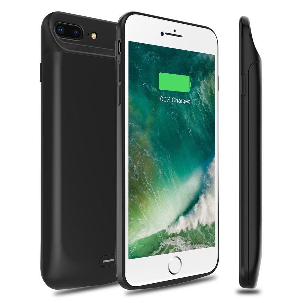 Capshi Battery Case for iPhone 8 Plus/7 Plus 7200mAh, Rechargeable External Battery Portable Power Charger Protective Charging Case for iPhone 7 Plus/8 Plus Extended Battery Pack (Black)