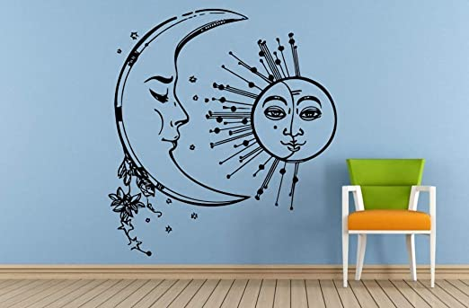 Luna y sol de doble cara con doble cara pegatinas de pared ...