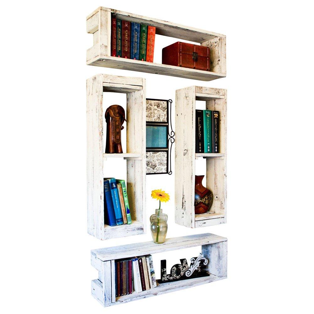 Wood Crate Shelf 30 Inch (Set of 4) | Wall Mount | Handmade Rustic Reclaimed Wood - Whitewash