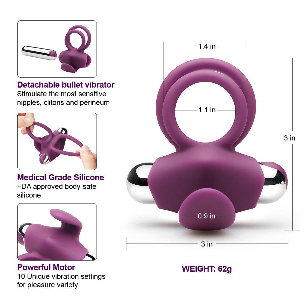Luvkis Anillo vibrador 10 - Configuración Estimular pene, vagina y clítoris - Juguete sexual (con carga USB) Adecuado para hombres y parejas - Juguete ...
