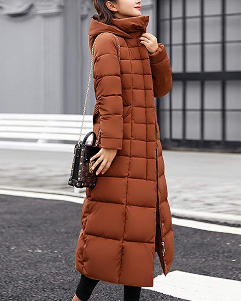 Donna Piumino Parka Inverno Cappotto con Cappuccio Caldo Giubbotto Lungo Trapuntata Giacca