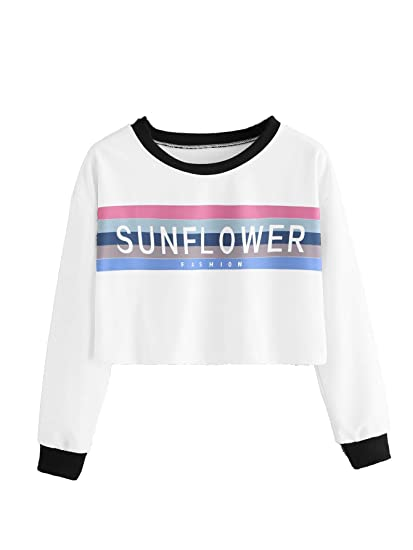 f6ba746aa Romwe Women's Long Sleeve Colorblock Striped Letter Graphic Print Crop Pullover  Sweatshirt Tee Top at Amazon Women's Clothing store: