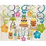 LeeSky 30pcs Hawaiian Luau Hanging Swirl Party Decoration Supplies,Luau Beach Summer Birthday Pool Party Tropical Tiki Swirl Decorations