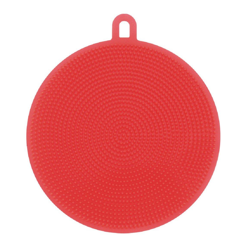 Gessppo Silicone Dish Washing Sponge Scrubber Kitchen Cleaning Antibacterial Tool (Orange)